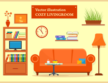 living room furniture: living room interior with sofa and furniture Illustration