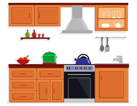 countertop: kitchen room isolated furnishing interior Illustration