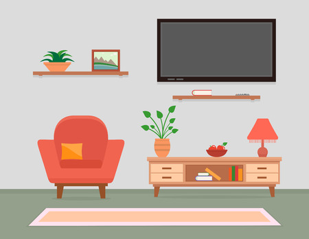 living room furniture: living room interior with armchair and furniture