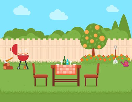 huis achtertuin met grill en tuin