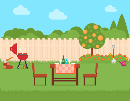 house backyard with grill and garden