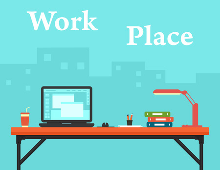 business work: work place on business office and city silhouette