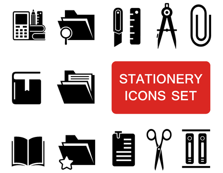 clinch: stationery icon set Illustration
