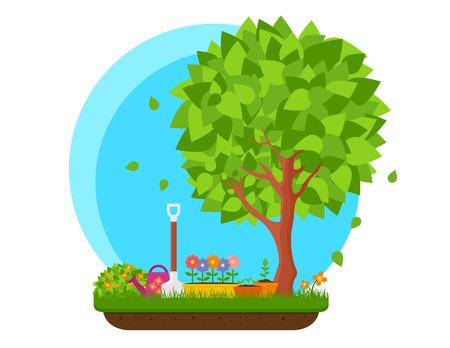 꽃과 나무가있는 봄 정원 일러스트