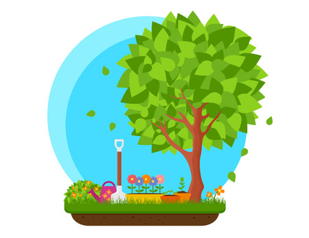 spring garden with flower and tree Çizim