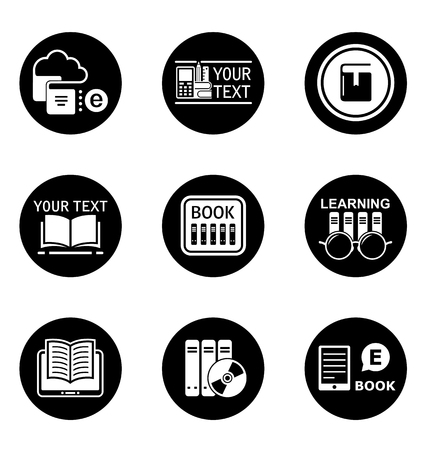 book concept: Book learning concept round icons.