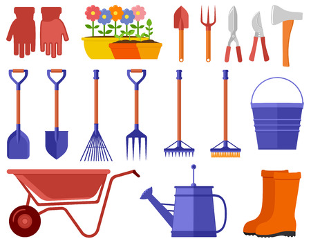 colorful garden icons set Illustration