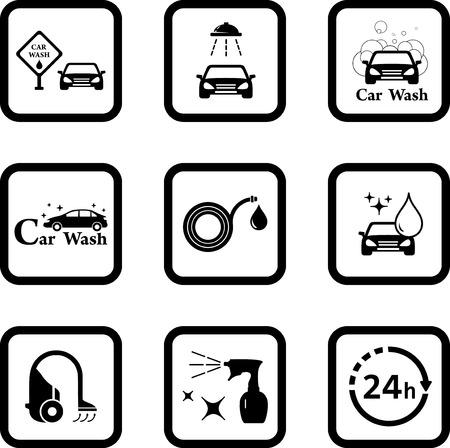Car wash icon set.