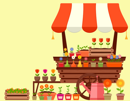 flower stand with spring garden flowers Illustration