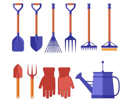 colorful garden tools for gardening landscaping Illustration