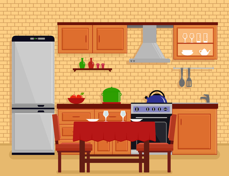 countertop: kitchen interior with table desk Illustration