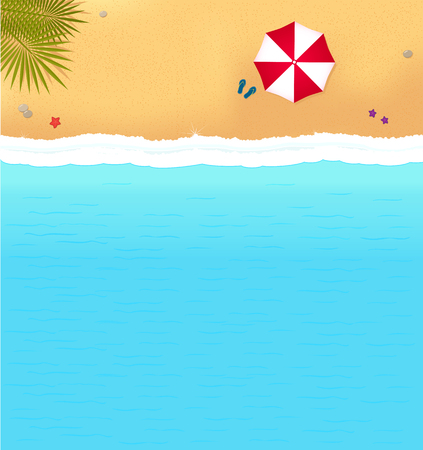 sea beach with waves and red umbrella. bright background with beach for sea resort 矢量图像