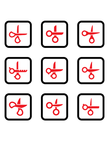 Red scissors collection. 矢量图像