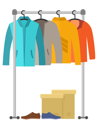 checkroom: Male clothes and shoes Illustration
