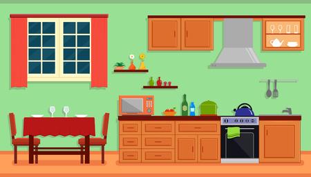 kitchen room interior for family home 矢量图像