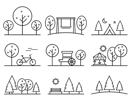 Set of outline design icons 矢量图像