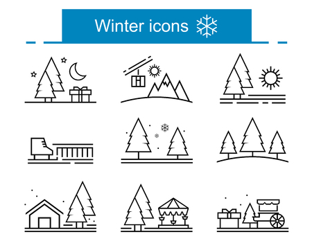 outline winter icons collection 矢量图像