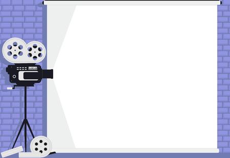 Cinema camera on white screen and brick wall background 矢量图像
