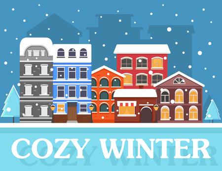 Cozy winter in city 矢量图像