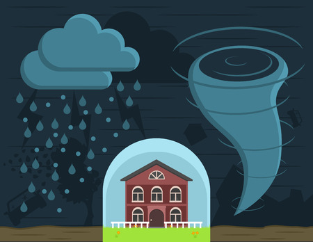 insurance protection of the house from natural disasters - hurricanes, tornadoes, floods, earthquakes and hail