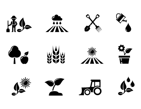 agriculture and horticulture or gardening concept icons set 矢量图像