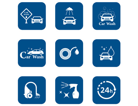 car wash blue icons set