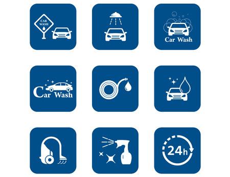 car wash blue icons set