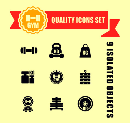 gym icons set with red tape