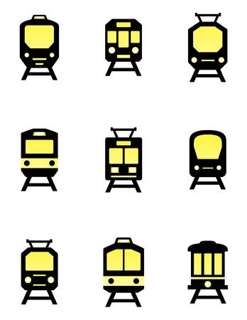 isolated train icons set 矢量图像