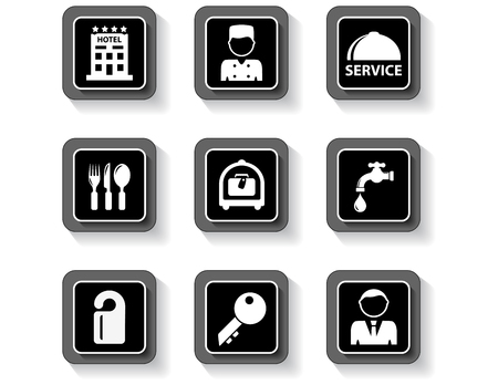 Black concept isolated hotel services buttons set.