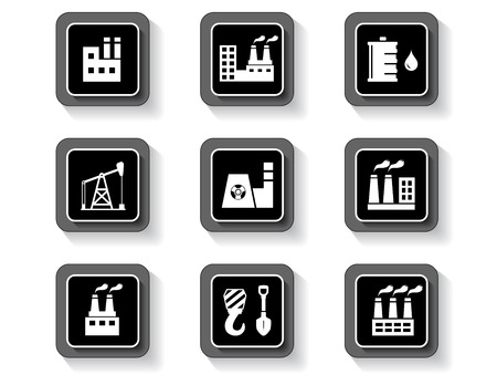 Black isolated concept industrial buttons set on white background.