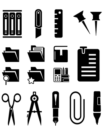 Black stationery isolated icons set for office concept.