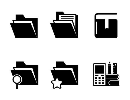 office folder, organizer and book black icons set