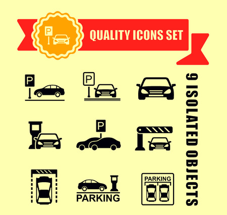 parking icon set with red tape accent 矢量图像