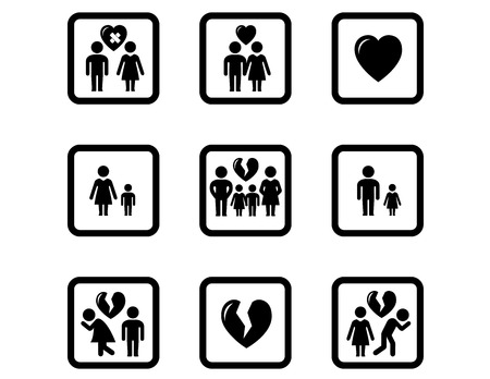 people divorce concept icons set