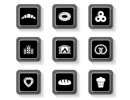 set of concept bakery products buttons Ilustração