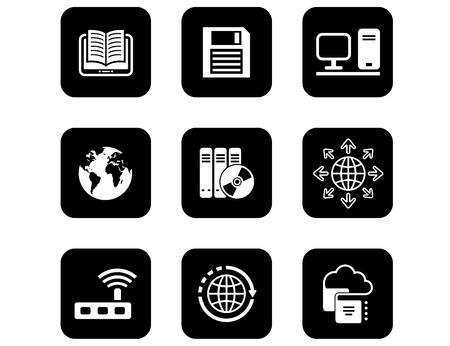 Set of black isolated concept icons for computer and electronic theme.