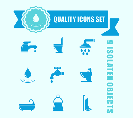 Set of isolated water and bathroom icon with blue tape accent. water and bathroom concept signs. 矢量图像