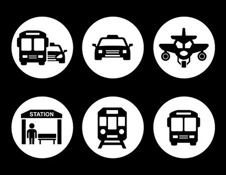 transport set on round icons