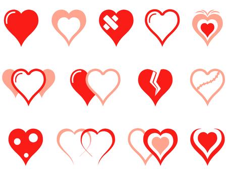heart icons set 矢量图像