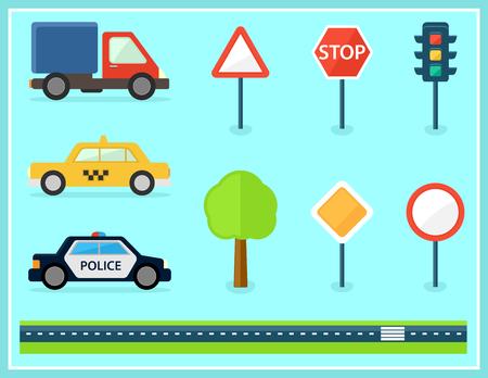 set of isolated flat transport icons Illustration
