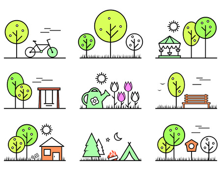 spring and summer outlines concept icons set 矢量图像