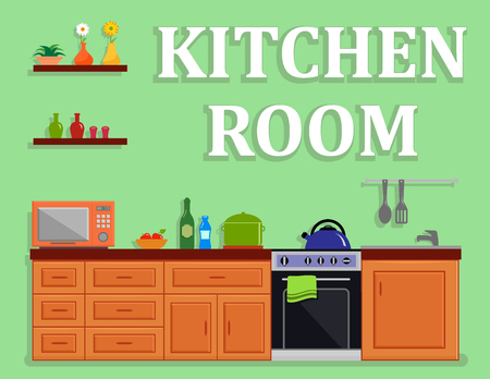 Kitchen room, isolated interior on green background.