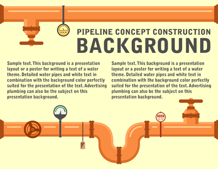 plumbing pipeline background for water supply or another industrial theme. yellow pipe with place for text. construction pipeline background