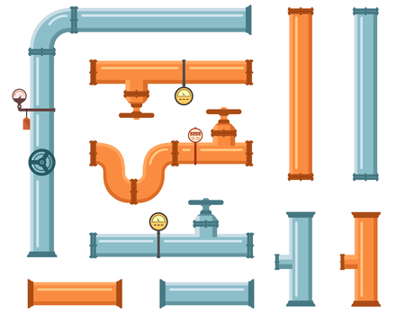 isolated pipes set on white background for plumbing or construction industry 矢量图像