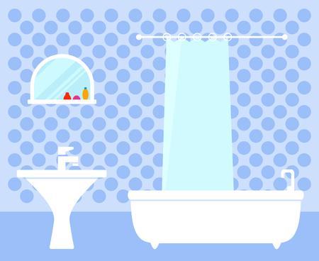 Bathroom interior on flat design