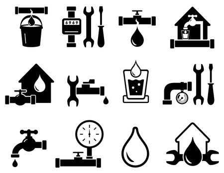set of pipeline construction icons for plumber work 矢量图像