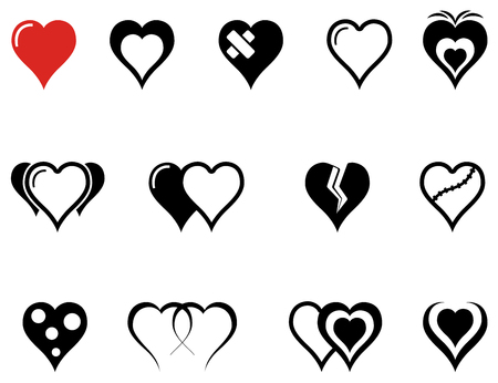 set of isolated hearts icons with red heart accent