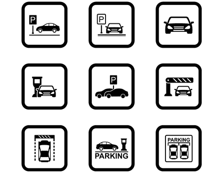 set di icone di parcheggio. nove simboli stradali neri impostati per l'industria dei servizi di parcheggio