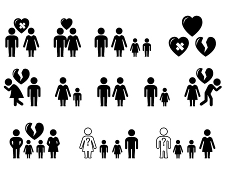 set icons with family situation - wedding, divorce, love, hatred Иллюстрация